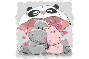 Cute Cartoon Hippos with umbrella