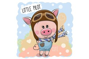 Cute Pig in a pilot hat