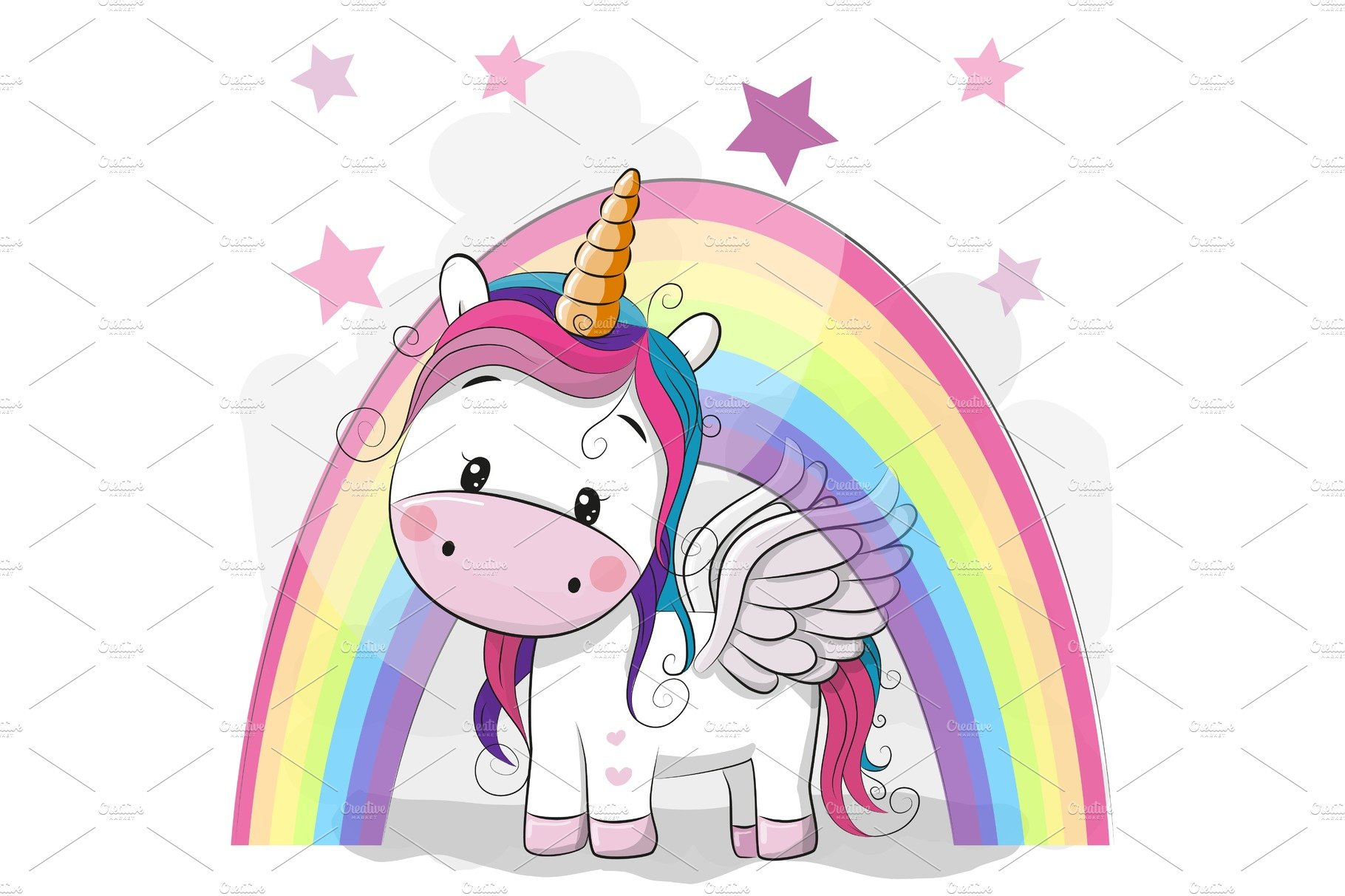 Cute Cartoon Unicorn and rainbow ~ Illustrations ...