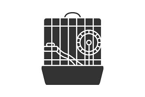 Hamster cage glyph icon