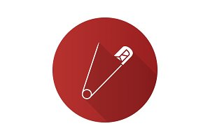 Safety pin flat design long shadow glyph icon
