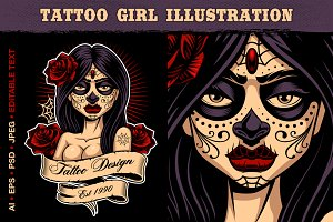 Tattoo girl vector illustration.