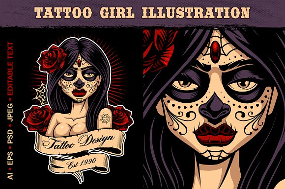Tattoo Girl Vector Illustration