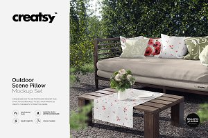Outdoor Scene Pillow Mockup Set