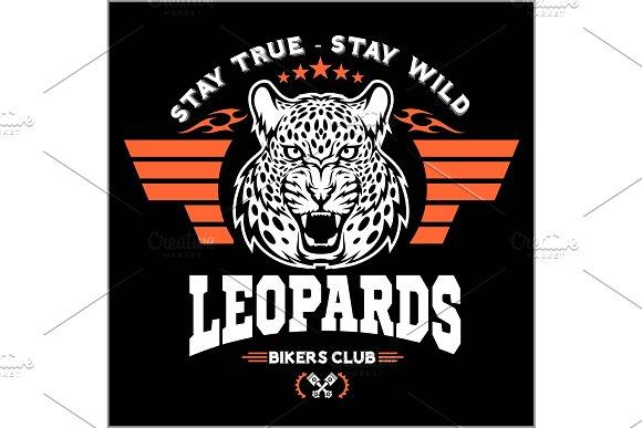 Leopards Custom Motors Club T-shirt Vector Logo On Dark Background Premium Quality Bikers Band Logotype T-shirt Emblem Illustration