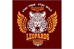 Leopards - custom motors club t-shirt vector logo on dark background. Premium quality bikers band logotype t-shirt emblem illustration.