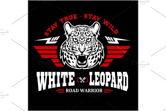 Leopard Head And Wings Racing Emblem