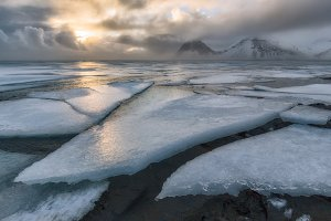 Frozen sea at Vestrahorn in Iceland
