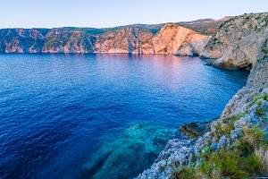 Mediterranean bay at sunset light in Assos, Kefalonia, Greece