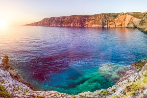 Mediterranean bay at sunset in Assos, Kefalonia, Greece