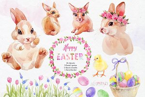 Easter clipart. Bunny clipart