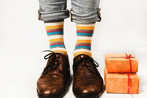 Man in funny socks and stylish shoes