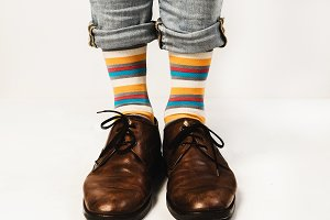 Men's legs in bright socks