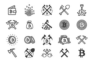 Bitcoin mining illustration set