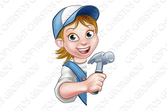 Woman Builder Carpenter Cartoon