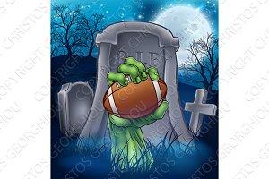 Football Zombie Halloween Graveyard Concept