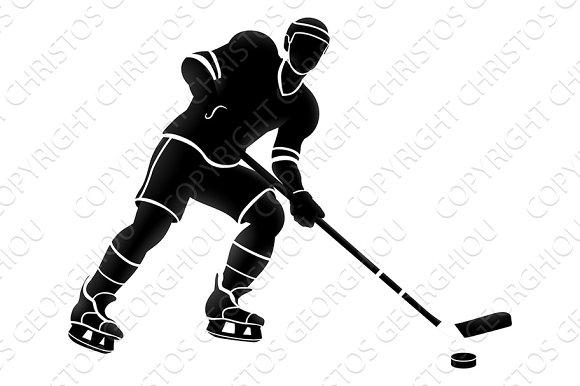 Ice Hockey Sports Player Silhouette