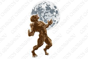 Full Moon Werewolf Scary Horror Monster