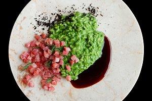 Bluefin tuna fillet, green risotto