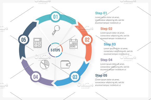 Circle Infographics With 5 Steps