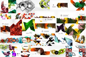 Mega collection of abstract backgrounds - wave designs, square shapes, round circles and othe geometric shapes, color and light compositions