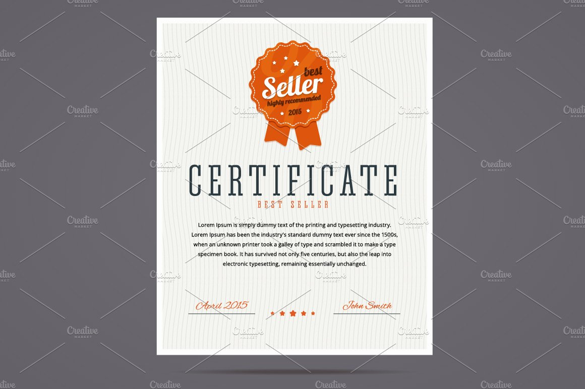 top seller certificate templates - best seller certificate illustrations creative market