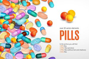 Medical Pills Realistic Set