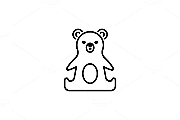 Thin Line Baby Icon Toy Plaything Bear