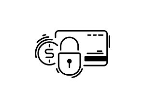 Pay, credit card, protection, secure. Payment methods thin line icon