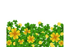 Saint Patrick s Day border with green and gold four and three Leaf clovers,golden coins on white background. Party invitation template. Lucky,success and money symbols vector illustration.