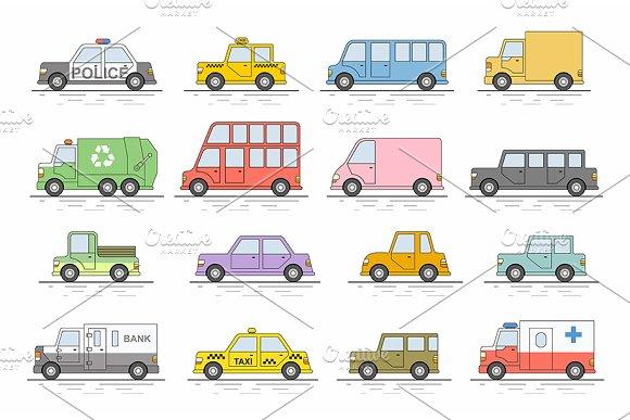 Car Icons Set Flat Colors Style Ve
