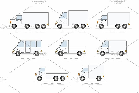 Commercial Van Icons Set