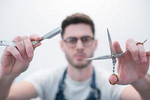 Straight razor and scissors Barber
