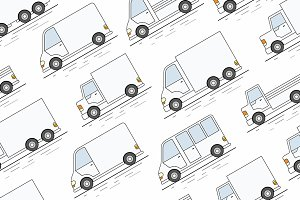 Delivery Van seamless pattern