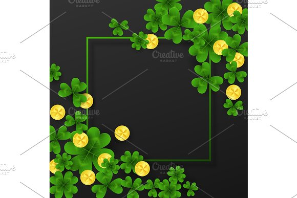 Saint Patrick Day Frame With Corner Decoration Green Gold Four And