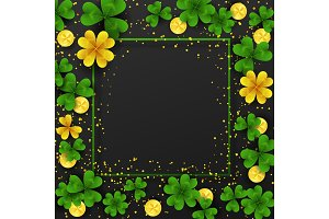 Saint Patrick Day border with golden shimmer,green,gold four and three Leaf clovers,golden coins on black background. Party invitation template. Lucky,success and money symbols vector illustration.