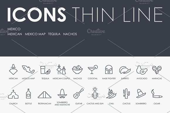 Mexico Thinline Icons