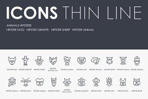 Animals hipsters thinline icons