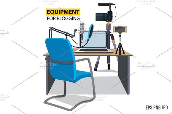 Workplace For Blogger Equipment