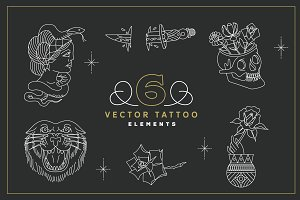 6 Vector Tattoo Elements