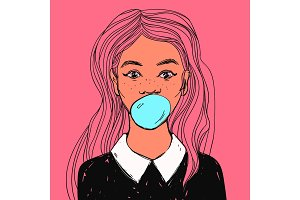 Beautiful girl with bubble gum, long hair and white collar. Vector hand drawn pop art illustration.