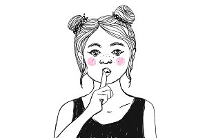 Girl with freckles, pink cheeks making Shh sign - asking for silence with the finger on her lips. Vector illustration.