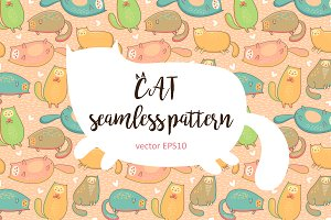 Seamless pattern of cartoon cats.
