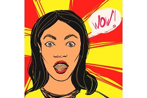 Surprised brunette woman with open mouth and Wow text. Vector hand drawn pop art illustration.
