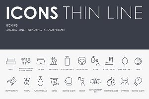 Boxing thinline icons