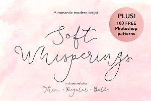 Soft Whisperings Font and 100 Extras