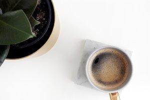 Coffee & ficus flatlay