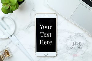 iPhone Mockup Marble Stock Photo