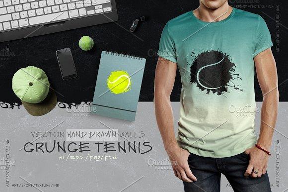 Grunge Tennis Hand Drawn Balls