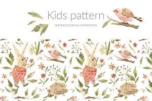 Watercolor kids pattern, forest